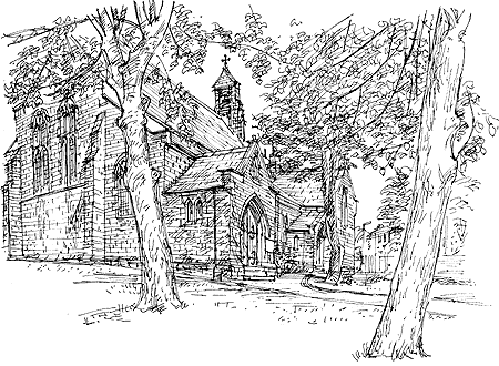 St Mary's Chickenley, drawn in 1999