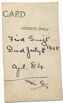 Maurice Swift's note on the back of a photograph