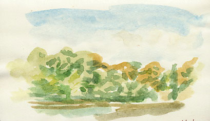 watercolour sketch of lake