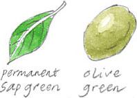 sap green, olive green