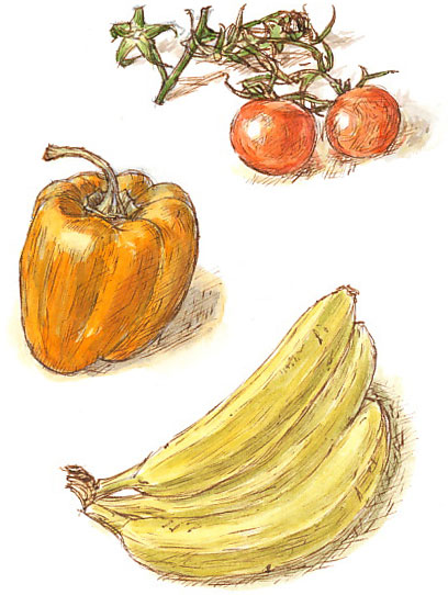 tomatoes, pepper and banana