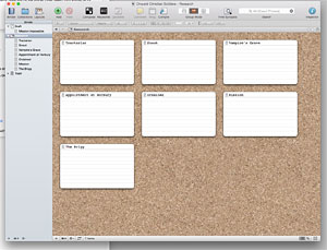 Corkboard view in Scrivener