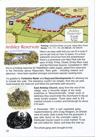 The Ardsley Reservoir page from 'Walks in the Rhubarb Triangle'.