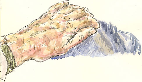 hand in watercolour