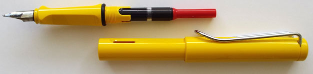 Lamy Safari with Z24 converter and broad nib, filled with Noodler's Black ink.