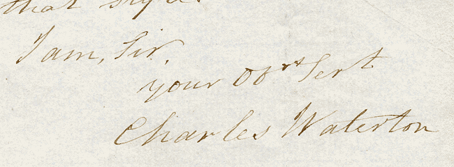 Waterton's signature from a letter dated 1859 (see below).