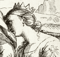 St Catherine, detail from an etching by Maratta.
