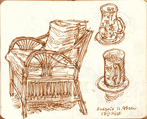 chair and mugs