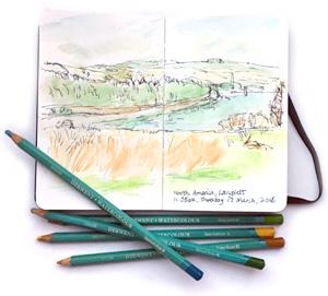 langsett sketch, crayons