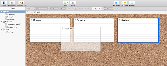 In Scrivener you can easily move around the sections of the article you're writing using the virtual corkboard.