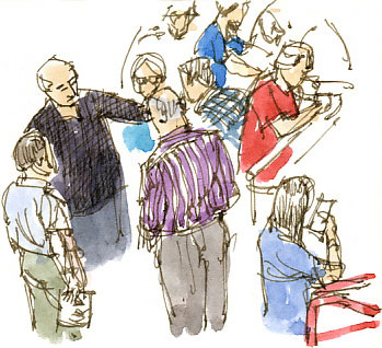 Prommers gather in the arena of the Royal Albert Hall, 7.25 p.m.