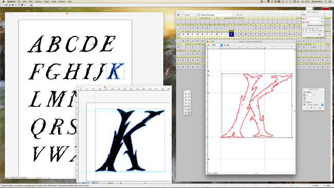 Copying letters from Adobe Illustrator (left) to Typetool.
