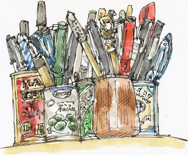 pots of pens