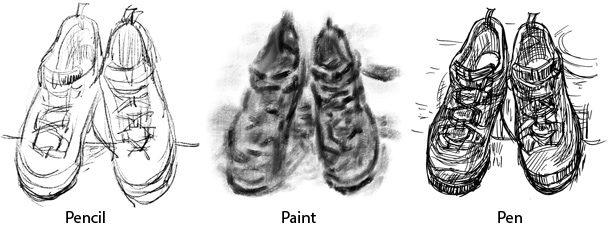 stages in drawing trainers