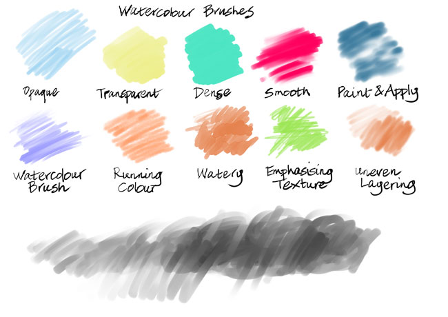 Watercolour brushes, Clip Art Studio